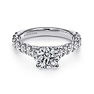 Julie 18k White Gold Round Straight Engagement Ring angle 1