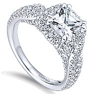 Julietta 18k White Gold Cushion Cut Halo Engagement Ring angle 3