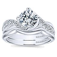 Julissa 14k White Gold Round Bypass Engagement Ring angle 4
