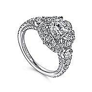 Julius 18k White Gold Round Halo Engagement Ring angle 3