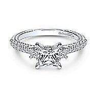 Kaiya 14k White Gold Princess Cut 3 Stones Engagement Ring angle 1
