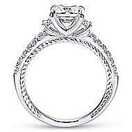 Kaiya 14k White Gold Princess Cut 3 Stones Engagement Ring angle 2