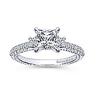 Kaiya 14k White Gold Princess Cut 3 Stones Engagement Ring angle 5