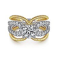 Kara 14k Yellow And White Gold Round Split Shank Engagement Ring angle 1