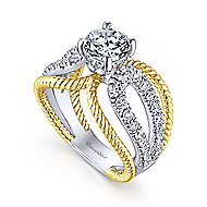 Kara 14k Yellow And White Gold Round Split Shank Engagement Ring angle 3