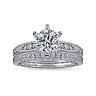 Kate 14k White Gold Round Straight Engagement Ring angle 4