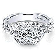Katrina 14k White And Rose Gold Princess Cut Halo Engagement Ring angle 1