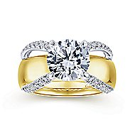Keiko 18k Yellow And White Gold Round Split Shank Engagement Ring angle 5