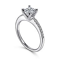 Kelly 14k White Gold Round Straight Engagement Ring angle 3