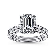 Kelsey 14k White Gold Emerald Cut Halo Engagement Ring