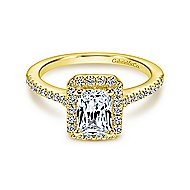 Kelsey 14k Yellow Gold Emerald Cut Halo Engagement Ring angle 1