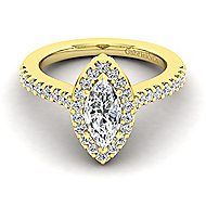 Kelsey 14k Yellow Gold Marquise  Halo Engagement Ring angle 1