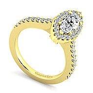 Kelsey 14k Yellow Gold Marquise  Halo Engagement Ring angle 3