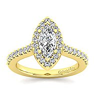 Kelsey 14k Yellow Gold Marquise  Halo Engagement Ring angle 5