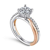 Kendall 14k White And Rose Gold Round Twisted Engagement Ring angle 3
