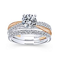 Kendall 14k White And Rose Gold Round Twisted Engagement Ring angle 4