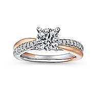Kendall 14k White And Rose Gold Round Twisted Engagement Ring angle 5