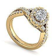Kendie 14k Yellow Gold Oval Halo Engagement Ring angle 3