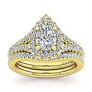 Kennedy 14k Yellow Gold Pear Shape Halo Engagement Ring angle 4