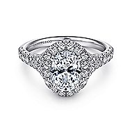 Kennedy Platinum Oval Halo Engagement Ring angle 1