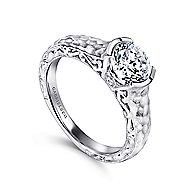 Kiera 14k White Gold Round Solitaire Engagement Ring angle 3