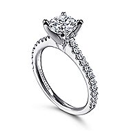 Kinley 14k White Gold Round Straight Engagement Ring angle 3