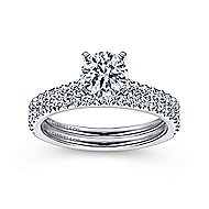 Kinley 14k White Gold Round Straight Engagement Ring angle 4