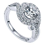 Kiss 18k White Gold Round Halo Engagement Ring angle 3