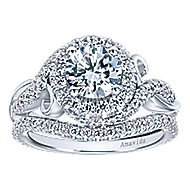 Kiss 18k White Gold Round Halo Engagement Ring angle 4