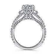 Knight 18k White Gold Round 3 Stones Engagement Ring angle 2