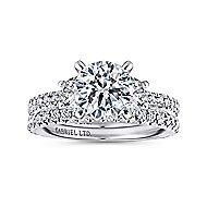 Knight 18k White Gold Round 3 Stones Engagement Ring angle 4