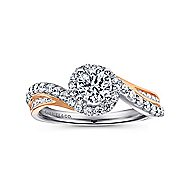 Kyla 14k White And Rose Gold Round Bypass Engagement Ring angle 5