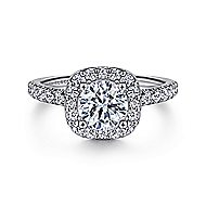 Kylie 14k White Gold Round Halo Engagement Ring angle 1