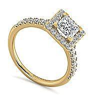 Kylie 14k Yellow Gold Princess Cut Halo Engagement Ring angle 3