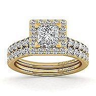 Kylie 14k Yellow Gold Princess Cut Halo Engagement Ring angle 4