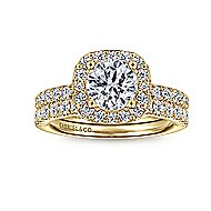 Kylie 14k Yellow Gold Round Halo Engagement Ring angle 4
