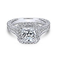 Lace 18k White Gold Princess Cut Double Halo Engagement Ring angle 1