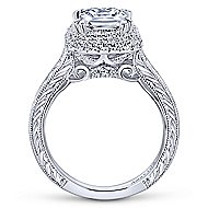 Lace 18k White Gold Princess Cut Double Halo Engagement Ring angle 2