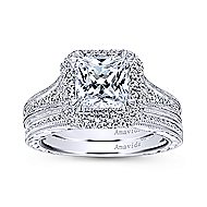Lace 18k White Gold Princess Cut Double Halo Engagement Ring angle 4