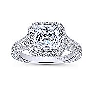 Lace 18k White Gold Princess Cut Double Halo Engagement Ring angle 5