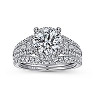 Lafayette 18k White Gold Round Halo Engagement Ring angle 4