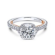 Laksa 18k White And Rose Gold Round Halo Engagement Ring angle 1