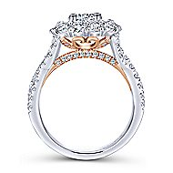 Lara 14k White And Rose Gold Round Double Halo Engagement Ring