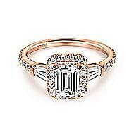 Larkin 14k Rose Gold Emerald Cut Halo Engagement Ring angle 1