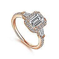 Larkin 14k Rose Gold Emerald Cut Halo Engagement Ring angle 3
