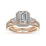 Larkin 14k Rose Gold Emerald Cut Halo Engagement Ring angle 4