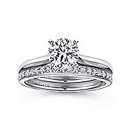Lauren 14k White Gold Round Solitaire Engagement Ring angle 4