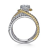 Lavish 14k Yellow And White Gold Round Twisted Engagement Ring angle 2