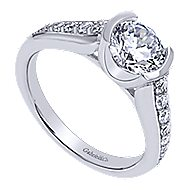 Layna 14k White Gold Round Straight Engagement Ring angle 3