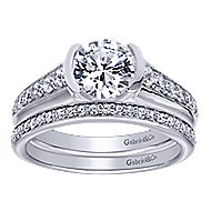 Layna 14k White Gold Round Straight Engagement Ring angle 4